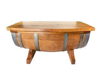 Wine Barrel White Oak Coffee Table with Hinged Top